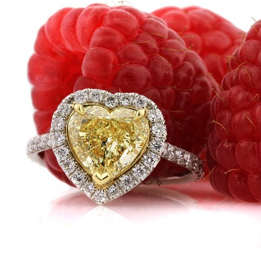 Mark Broumand 2.60ct Fancy Yellow Heart Shaped Diamond Engagement Ring