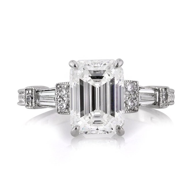 Mark Broumand 2.61ct Emerald Cut Diamond Engagement Ring
