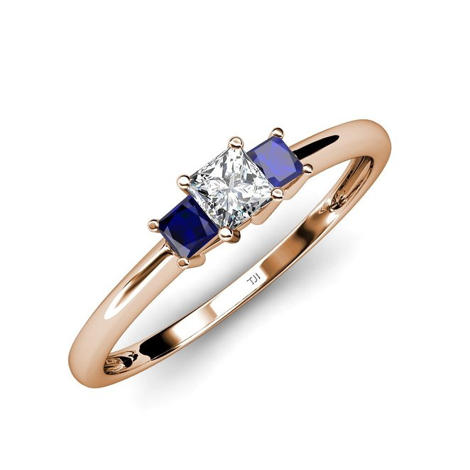 Blue Sapphire and Diamond Three Stone Ring 0.16 ct tw in 14K Yellow Gold