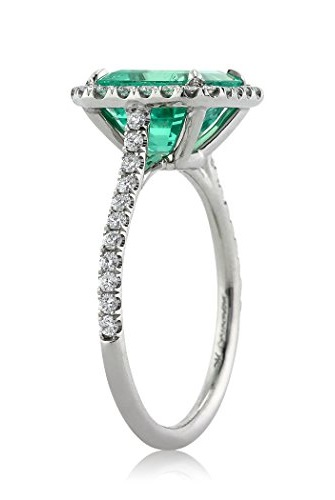 2.84ct Emerald and Diamond Engagement Ring