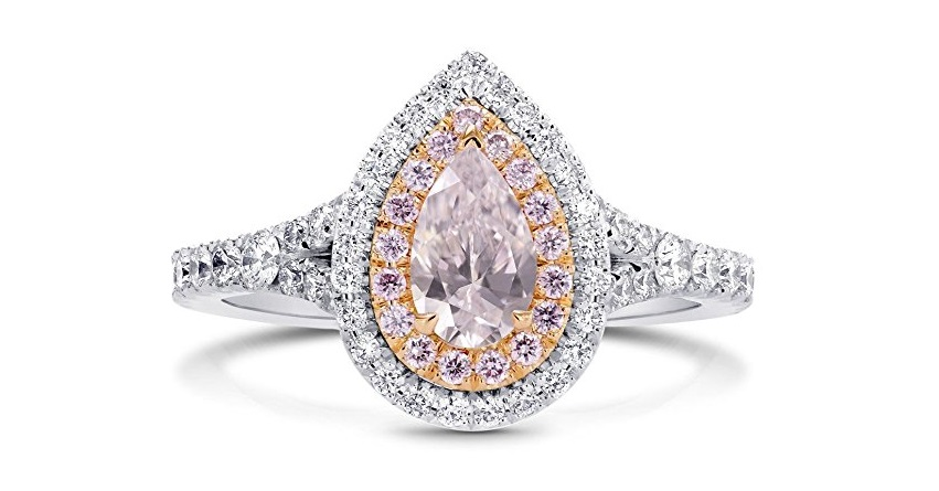 1.03Cts Engagement Halo Ring Set in 18K White Gold