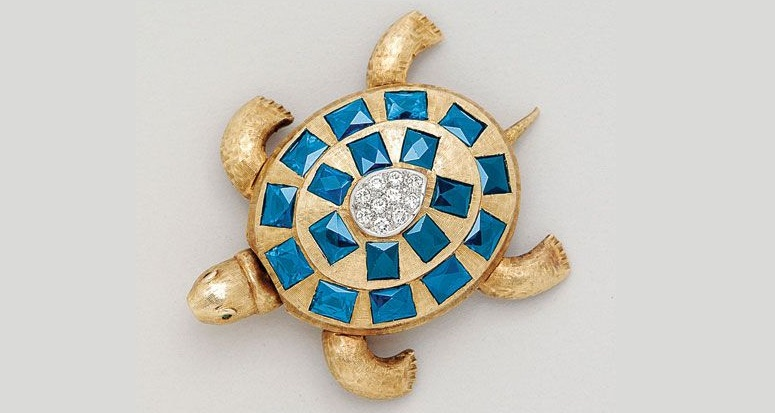 Sapphire, Diamond and 14K Gold Turtle Brooch