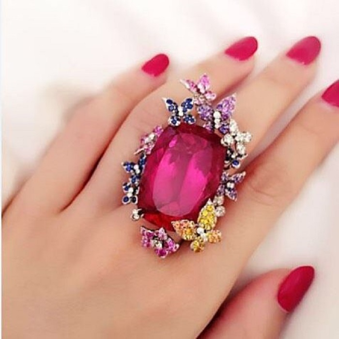 Rubellite Pink Diamond Butterfly Ring