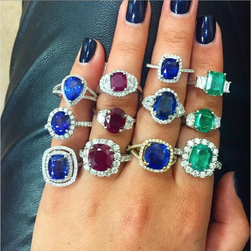 Emerald, Ruby and Sapphire Rings