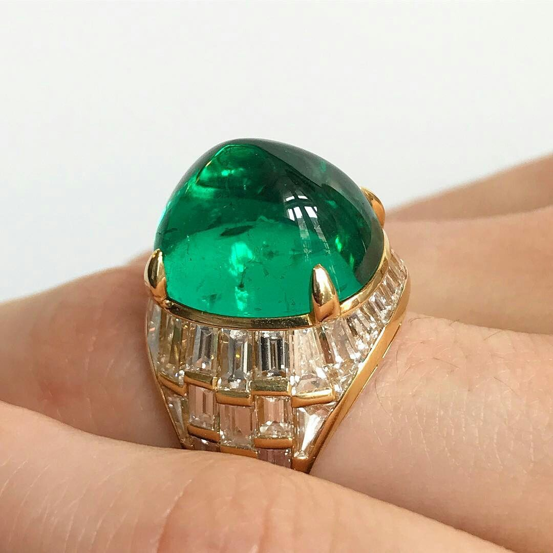 Cabochon emerald ring by Bulgari