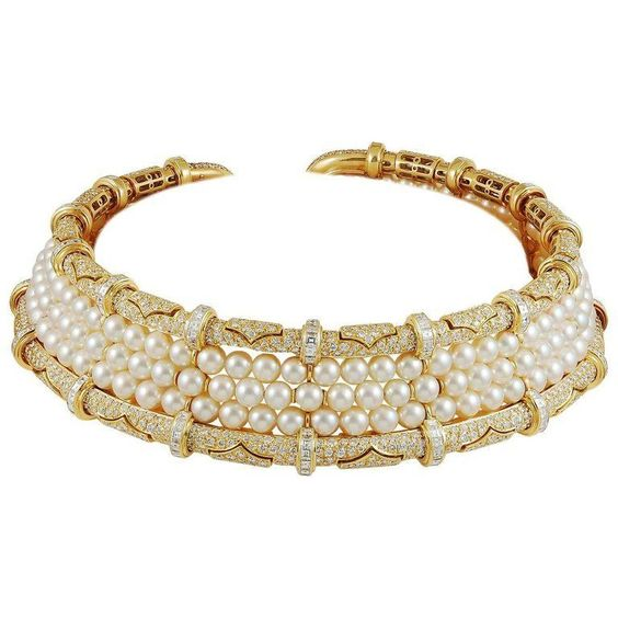 """Bulgari Diamond and Pearl Choker Necklace 18k yellow gold choker necklace, set with brilliant-cut diamond and 3-row pearl, signed Bulgari.diamond – approx. 36 cts. Circa 1980s"""